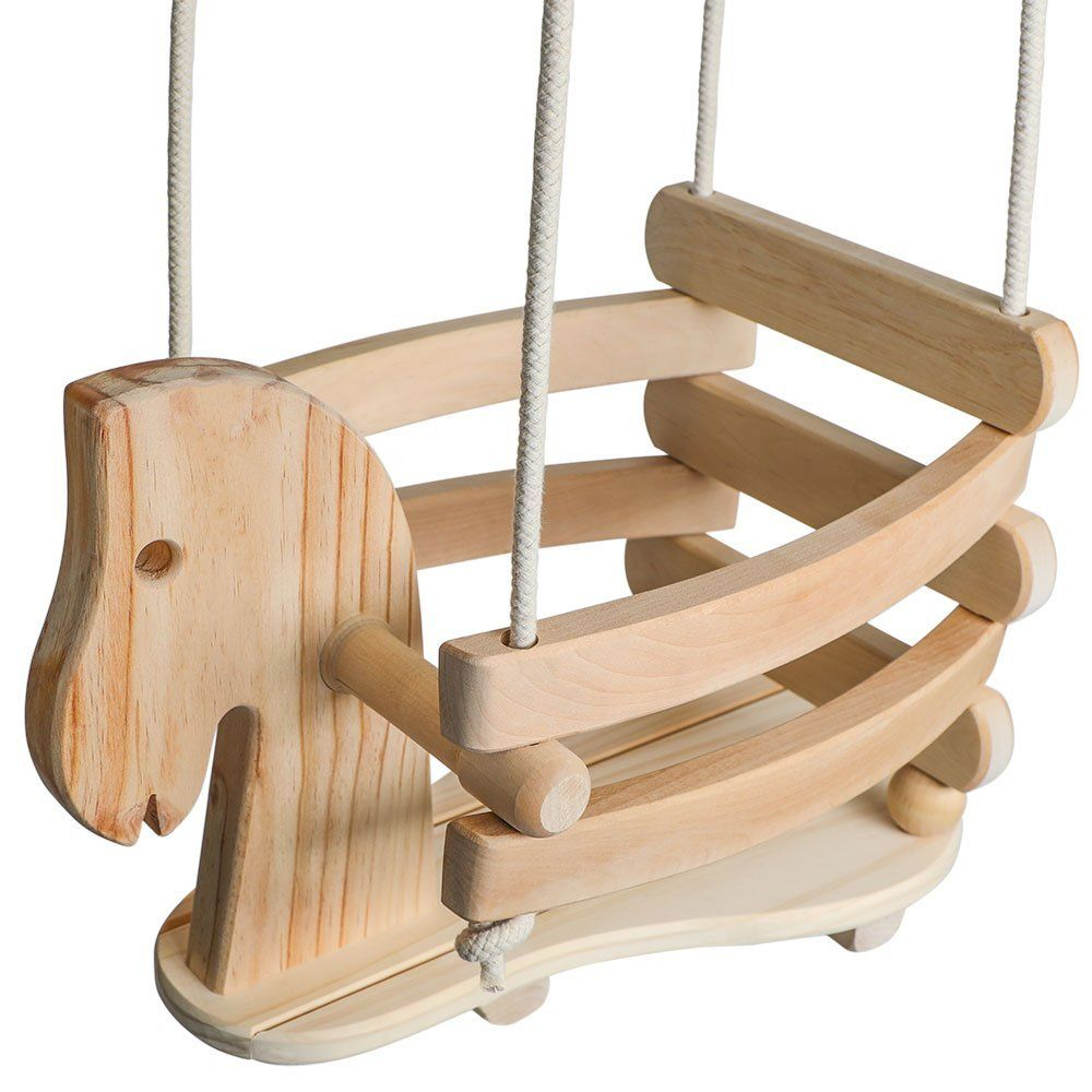 Amazon wooden horse swing set for toddlers smooth birch wood