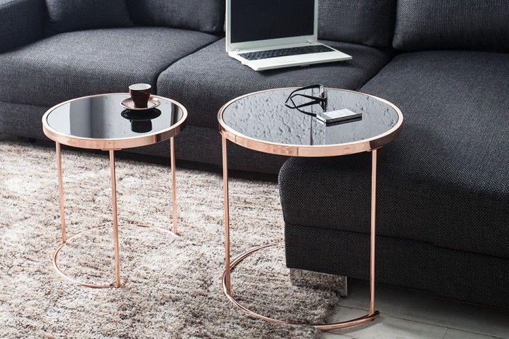 Design Couchtisch Art Deco Ii 2er Set Kupfer Schwarz Beistelltisch
