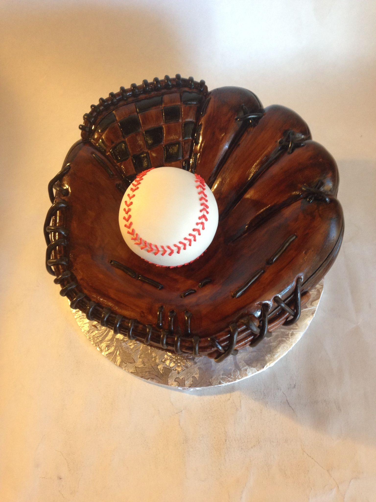 Sculpted baseball glove cake with baseball Groom's cake