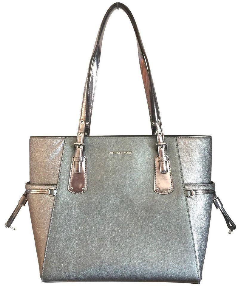 88faf1f312d9 NWT MICHAEL KORS Voyager Signature Light Pewter Tote Metallic Leather Work  Bag #MichaelKors #Tote #leatherworkbag