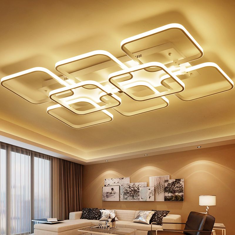 Square surface mounted modern led ceiling lights for living room     Square surface mounted modern led ceiling lights for living room light  fixture indoor home decorative lampshade