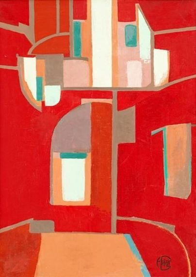 Red Composition, creation date unknown. By Françoise Gilot (France, born 1921). Oil on canvas.