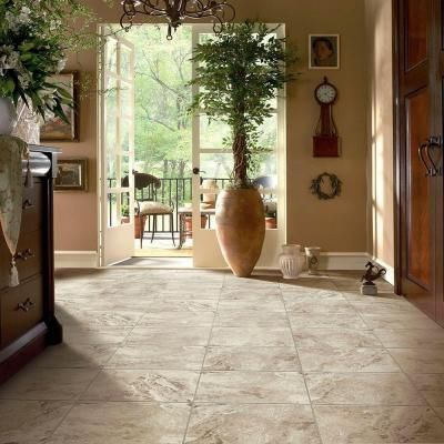Trafficmaster Groutable 18 In X 18 In Light Travertine Peel And Stick Vinyl Tile 36 Sq Ft Case A8001821 Vinyl Tile Peel And Stick Vinyl Basement Colors