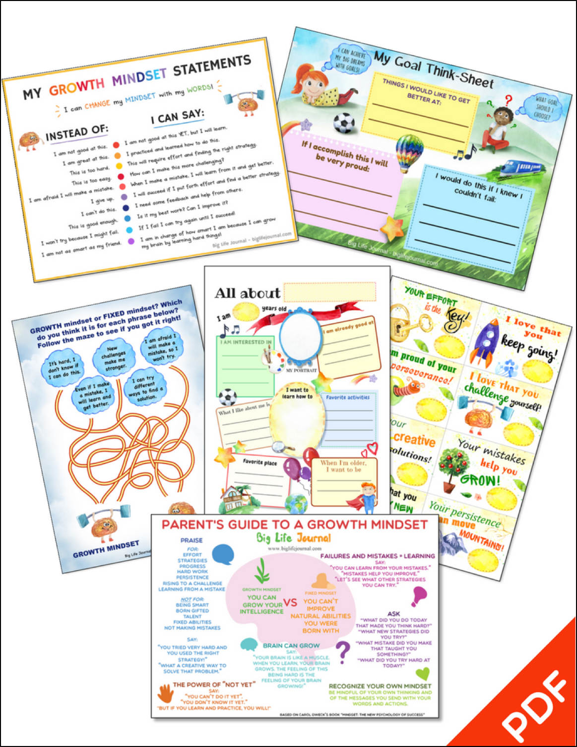Growth Mindset Printables Kit Big Life Journal
