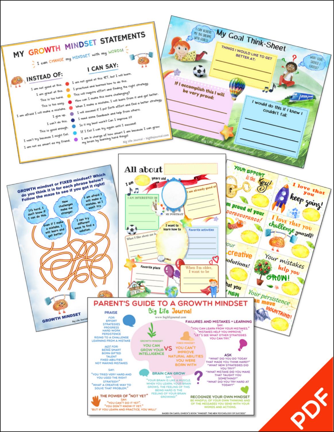 Growth Mindset Printables Kit Big Life Journal