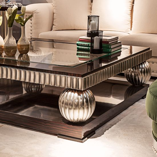 Ebony And Silver Square Coffee Table in 2020   Silver ...