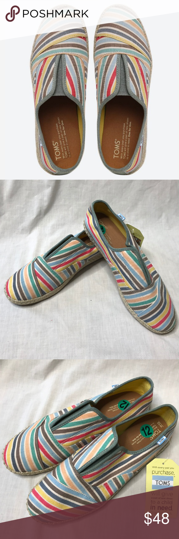 6425b3c3534 Toms Palmera Multi Beach strip Slip-Ons Flat Shoes Toms Womens size W 12 wmn