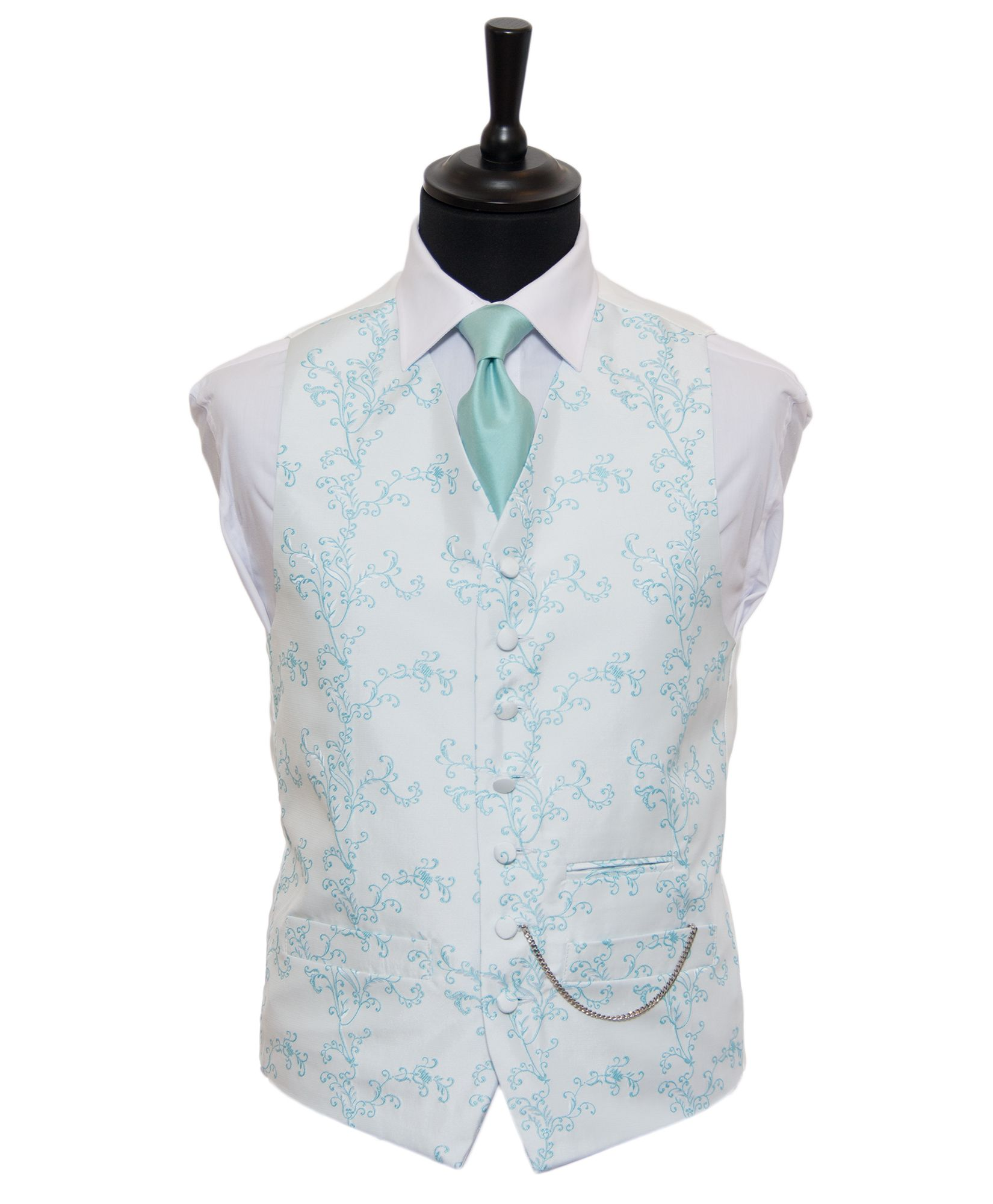 Mint Blue Vine Embroidered Silk Waistcoat | Fancy Mint Blue Wedding ...