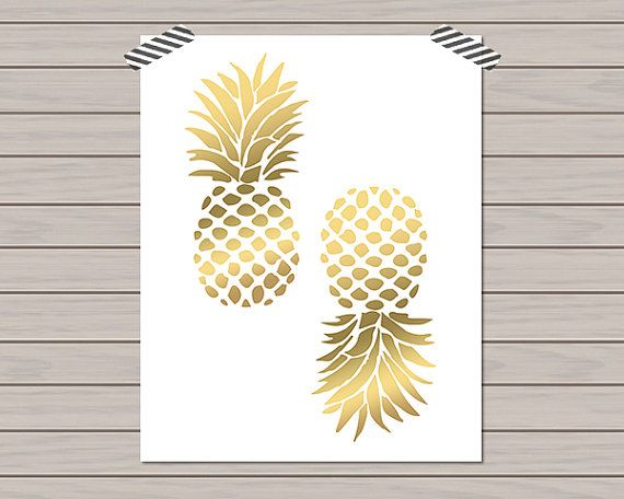 Gold Pineapple Print Home Decor 8 X 10 By HistoryinHighHeels