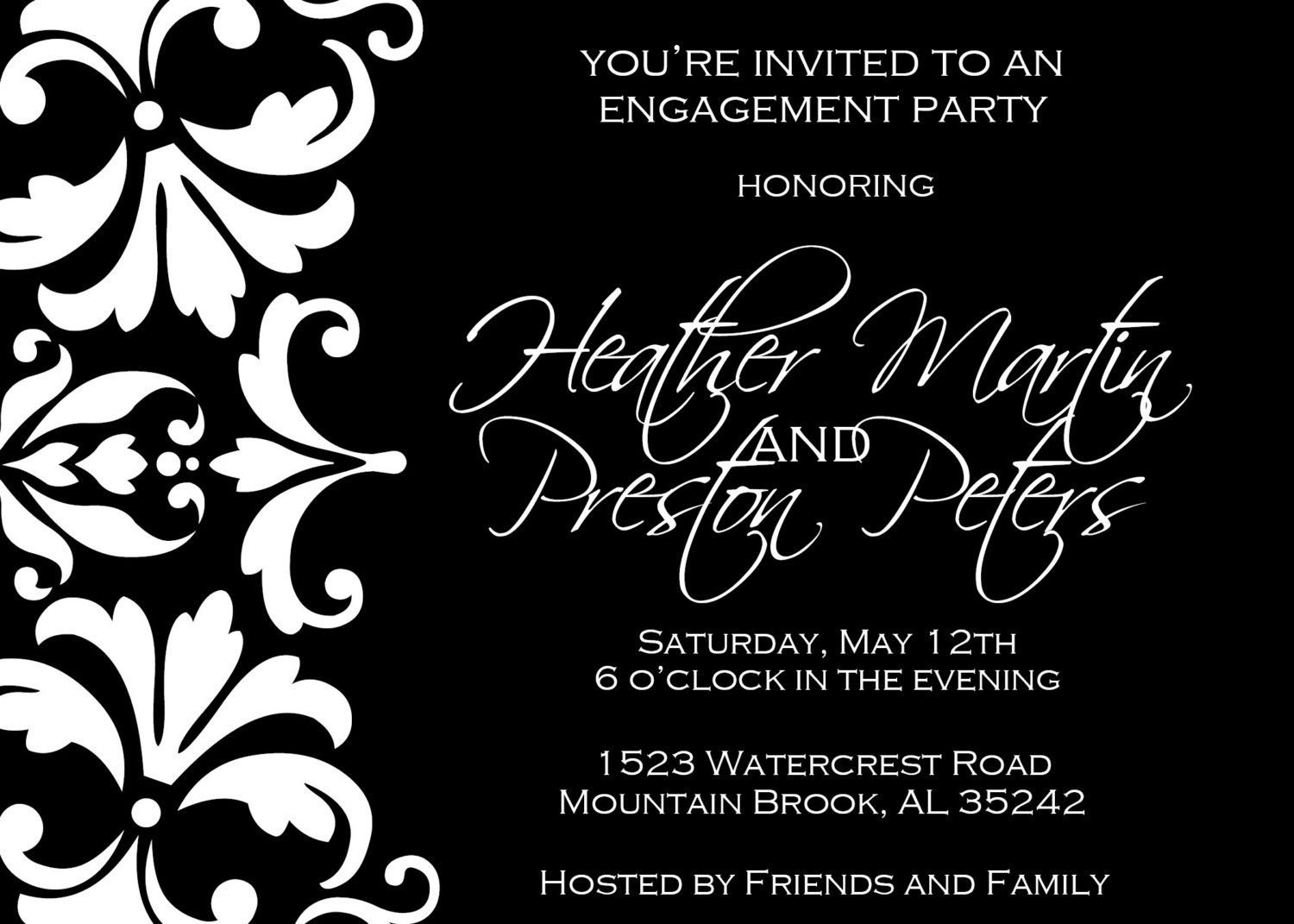 Black And White Damask Engagement Party Invitation Engagement - Black and white 30th birthday party invitations