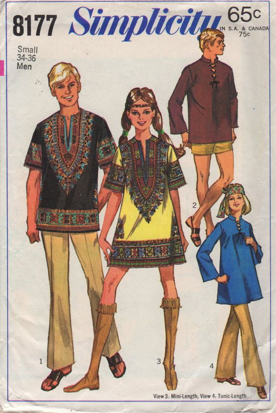 Simplicity 8177 1960s Misses DASHIKI Mini Dress Tunic Pattern ...