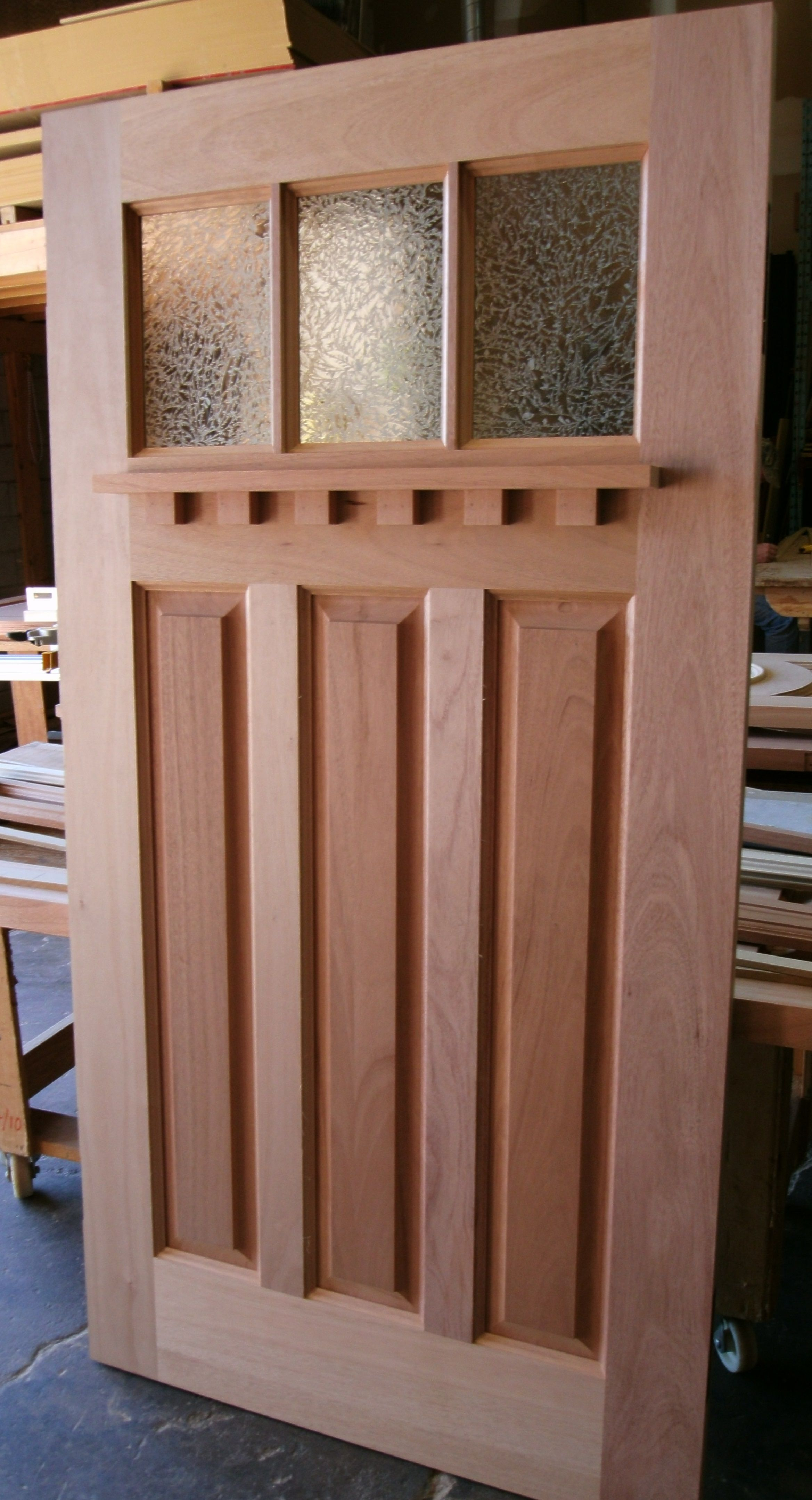 Mahogany 3 Lite 3 Panel Craftsman Style Door With Glue Chip