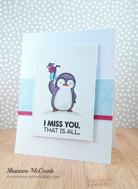I Miss You, Penguins in Paradise card featuring My Favorite Things | by stampandglitter