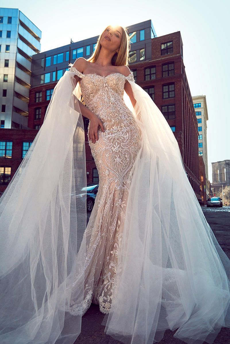 Off the shoulder sweetheart neckline fully beaded fit and flare