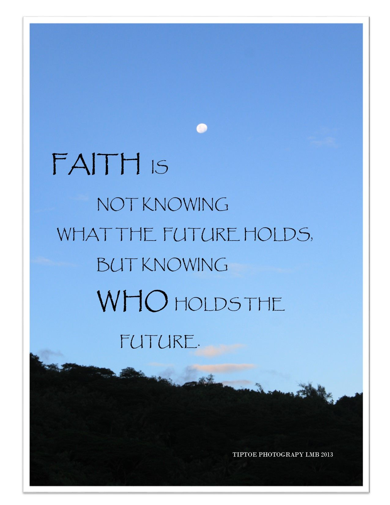 Faith is not knowing what the future holds but knowing WHO ...