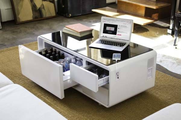 Sobro Coffee Table With Built In Refrigerator Bluetooth Speaker