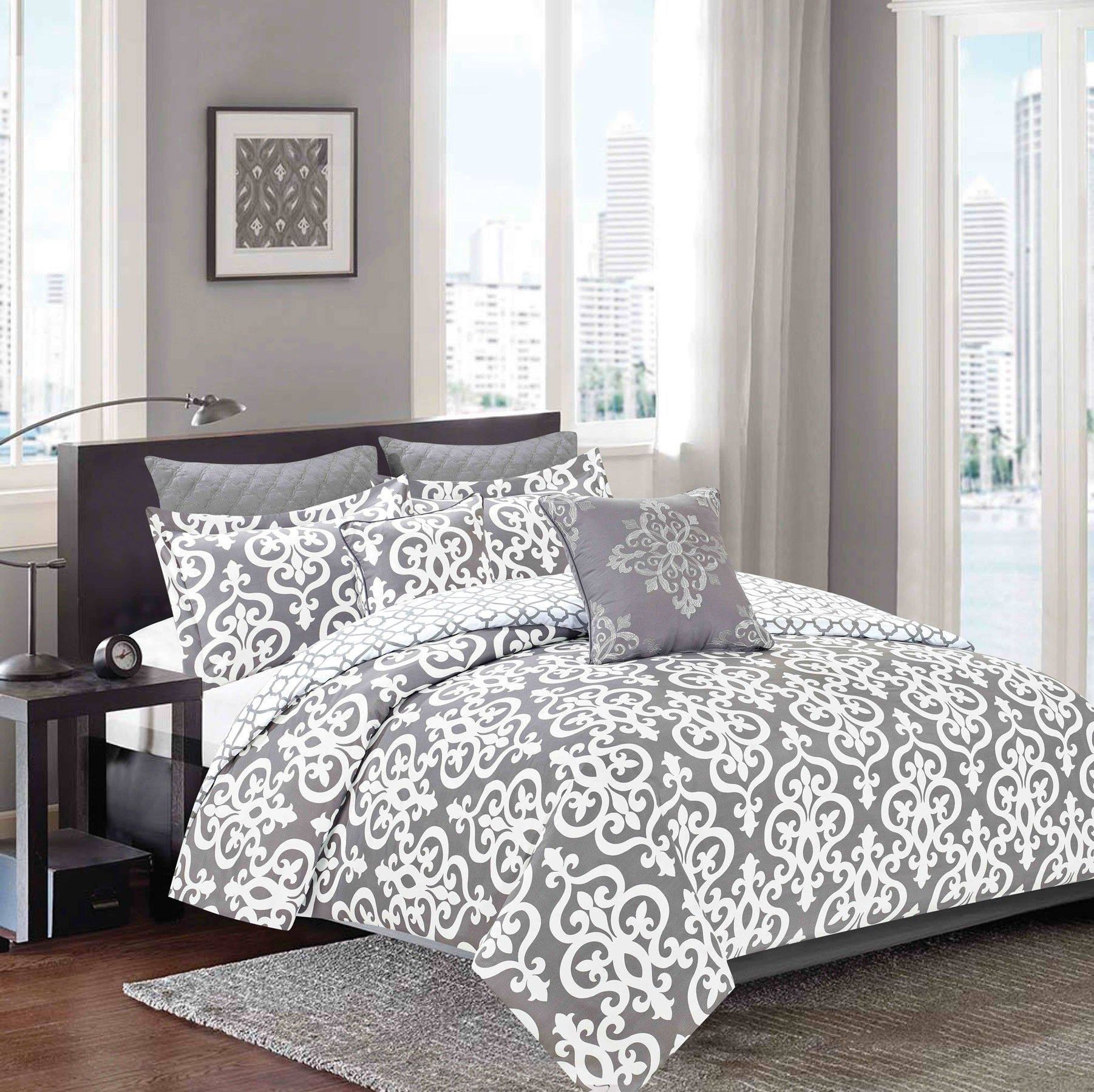Charming Crest Home Pottia Bedding Comforter 7 Piece Queen Size Bed Set, Grey And  White Medallion Damask Design