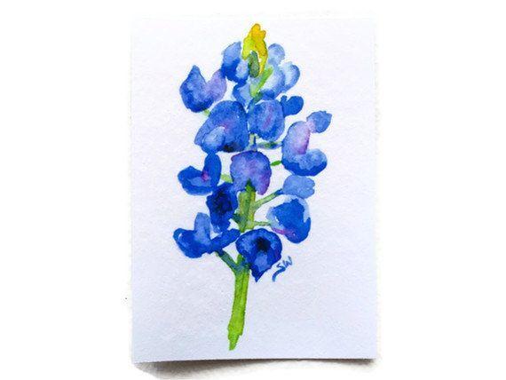 Bluebonnet Watercolor Tattoo Fine Art Prints Watercolor