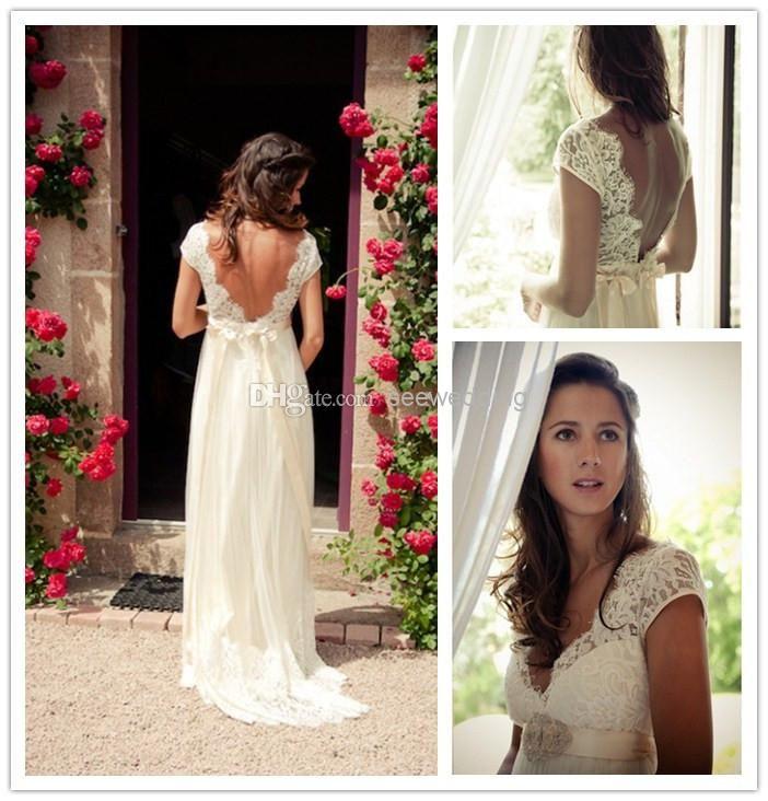 Buy Bohemia Wedding Dresses V Neck Cap Sleeve Open Back Lace Bodice Chiffon Skirt Summer Wedding Dress Backless Boho Bridal Dresses Cheap Wedding Bride Dress We Boho Bridal Dress Cheap Bridal