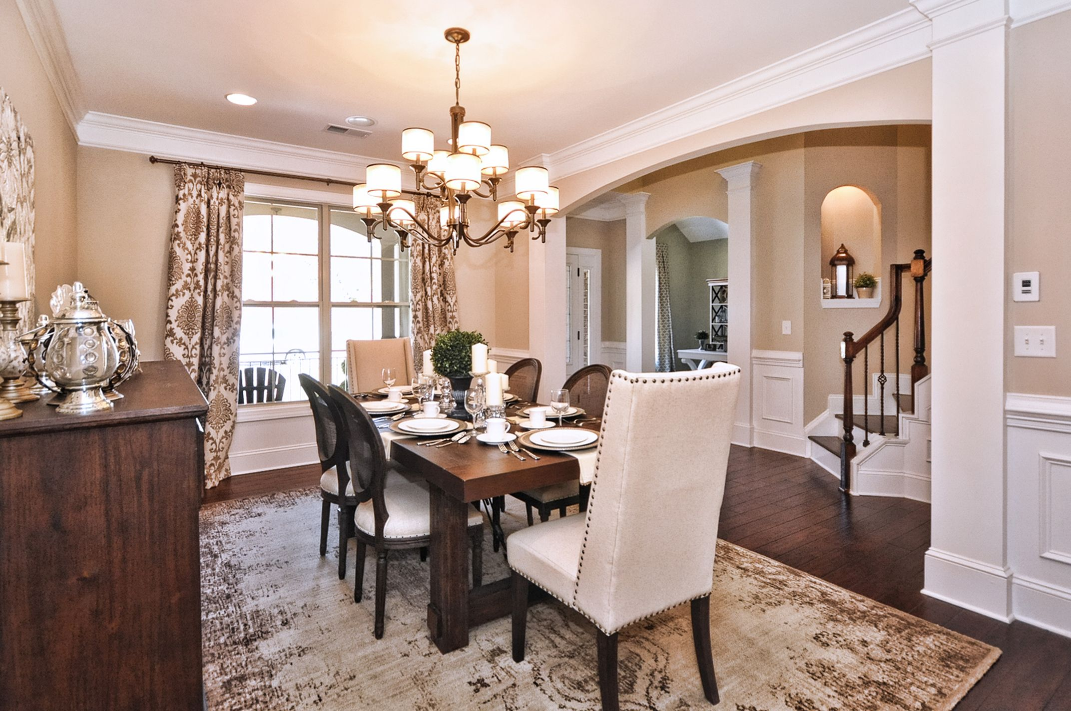 Essex homes katherine model dining room sherwin williams accessible beige kichler lacey - Kichler dining room lighting ideas ...