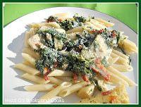 Chicken Florentine Pasta with White Wine Cream Sauce