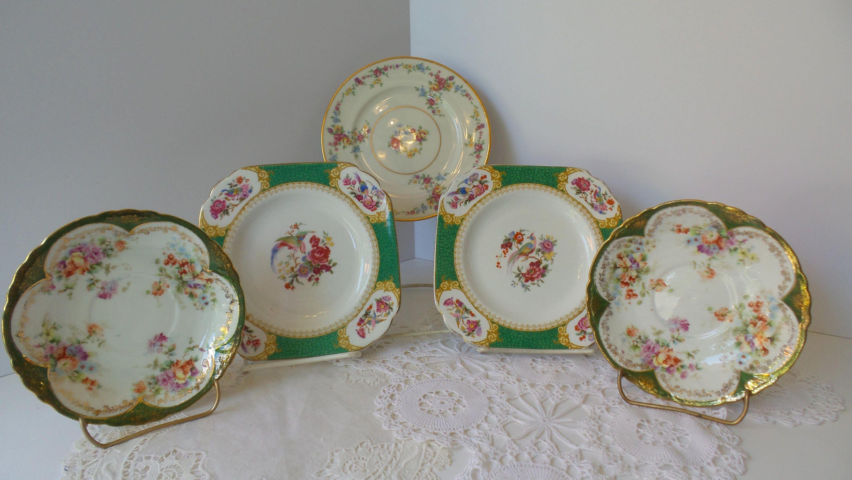 Vintage FLORAL PLATE SET Mismatched Plate Collection Vintage Floral Plates Farmhouse kitchen plates & Vintage FLORAL PLATE SET Mismatched Plate Collection Vintage ...