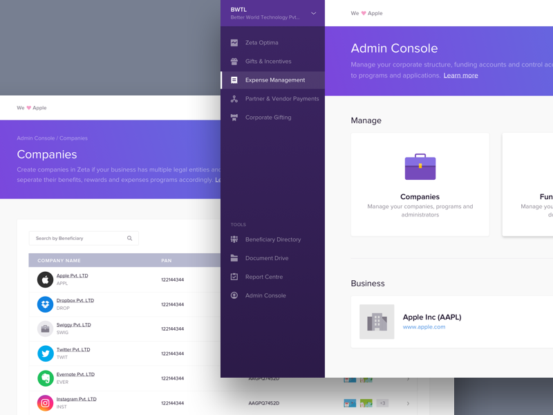Zeta Hr Dashboard  Admin Console  Ui Ux Dashboard Design And Ui