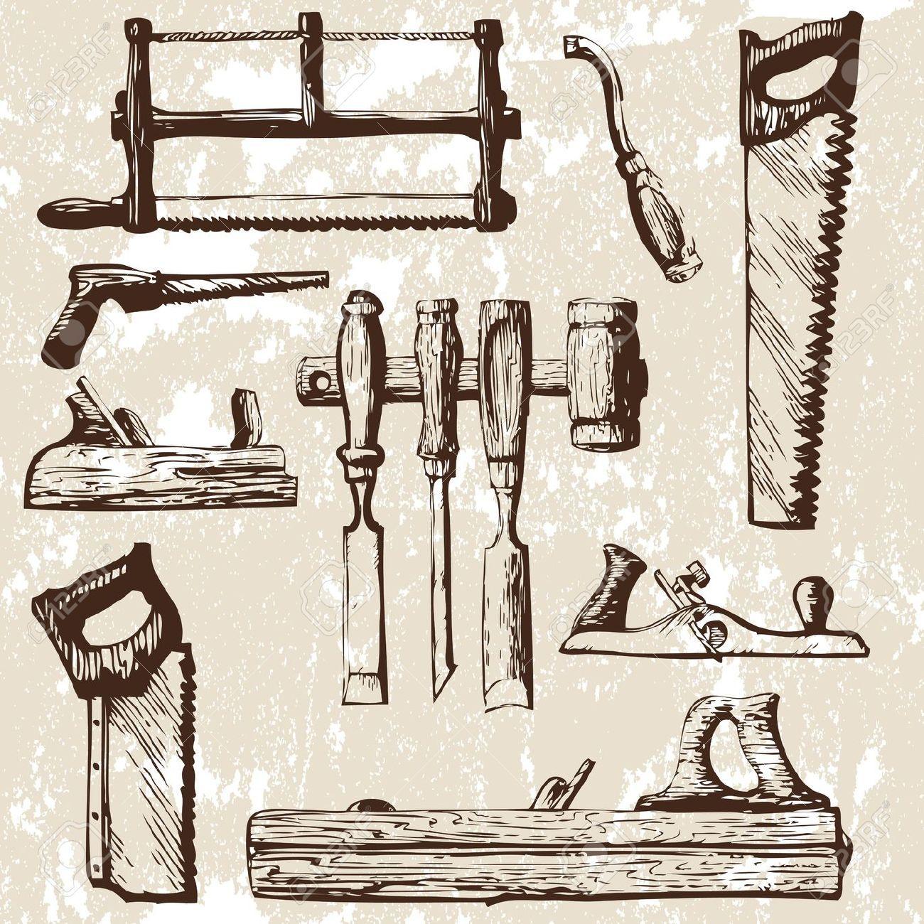 Conjunto de herramientas de carpinter a ilustracion n for Draw tool free