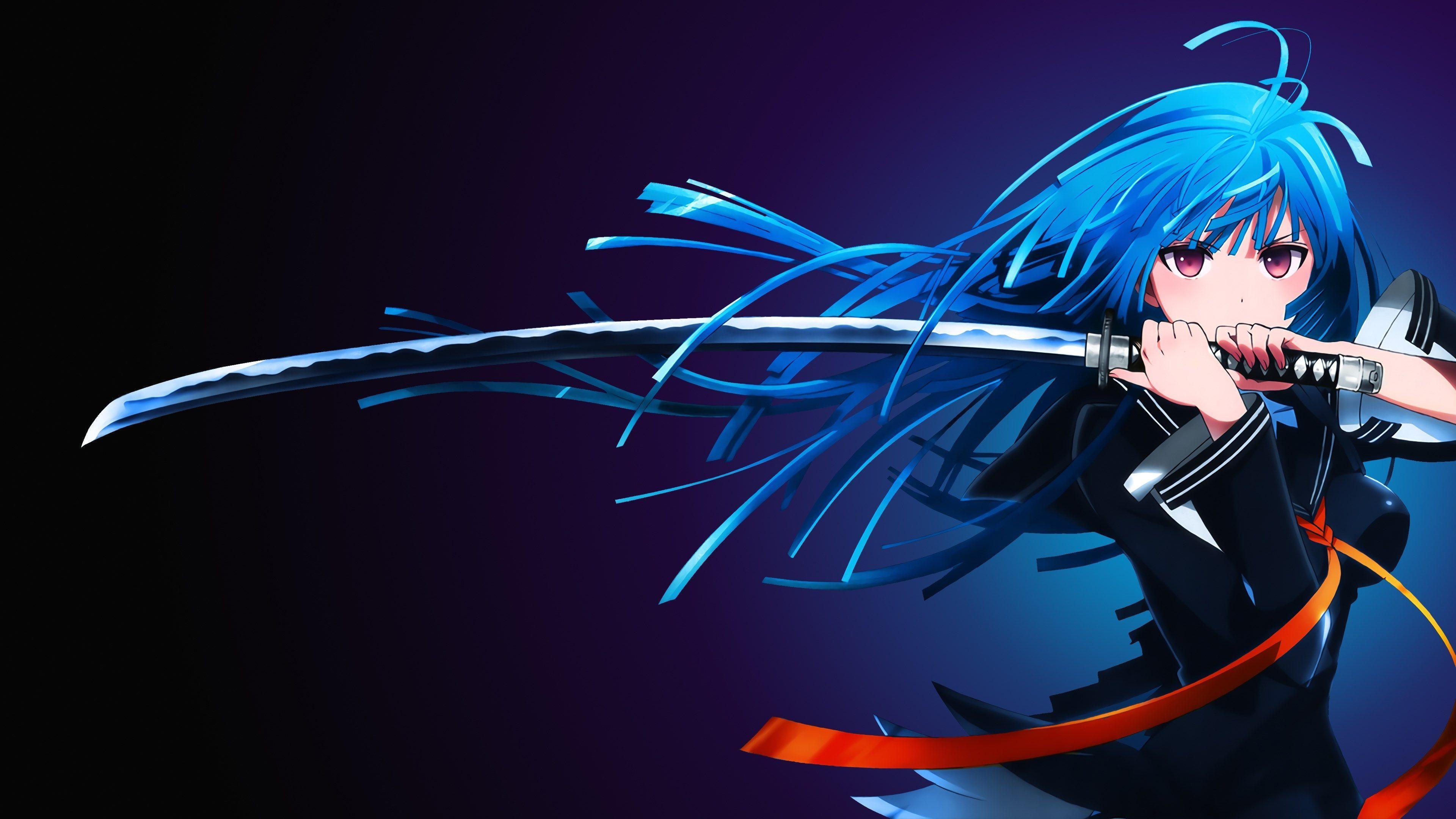 Black Bullet Gadis Animasi Gambar Anime Katana