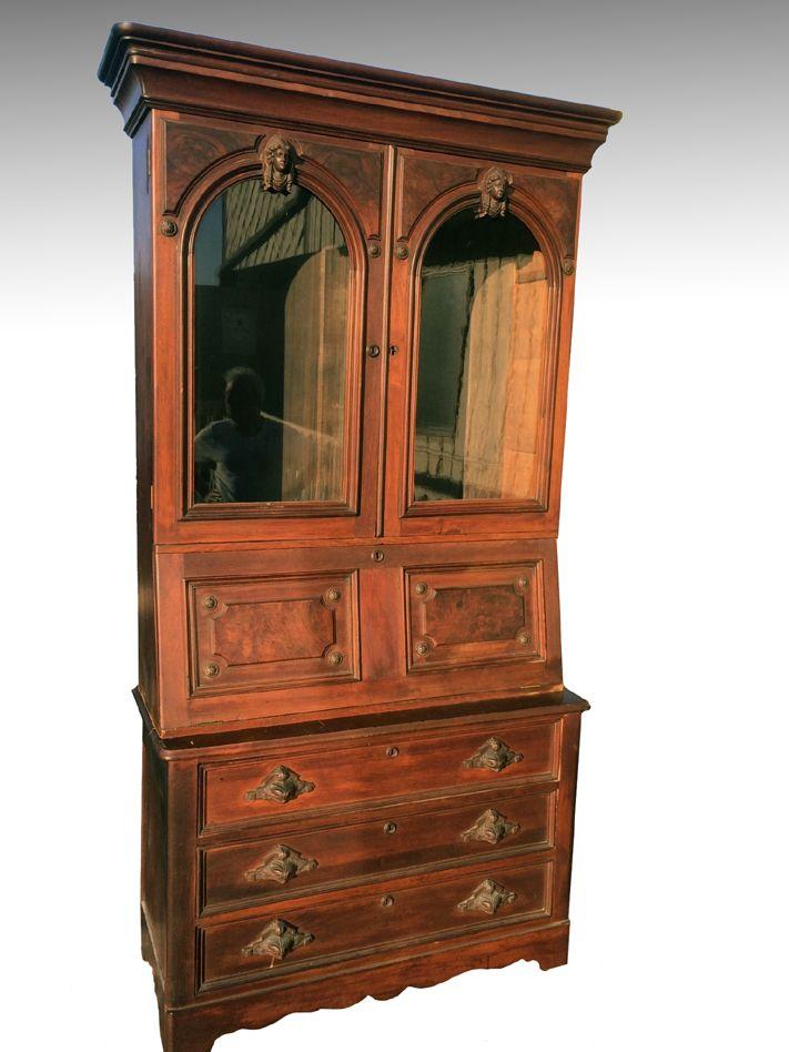 Maine Antique Furniture - 17512 Antique Civil War Era Walnut Secretary with  Jenny Lind Heads, - SOLD Antique Civil War Era Walnut Secretary With Jenny Lind Heads