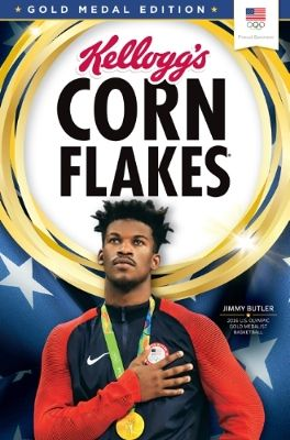 Jimmy Butler of Team Kellogg's is being featured on gold medal edition boxes of Kellogg's Corn Flakes.