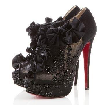 Black Lace Peep-Toe Bootie Louboutin