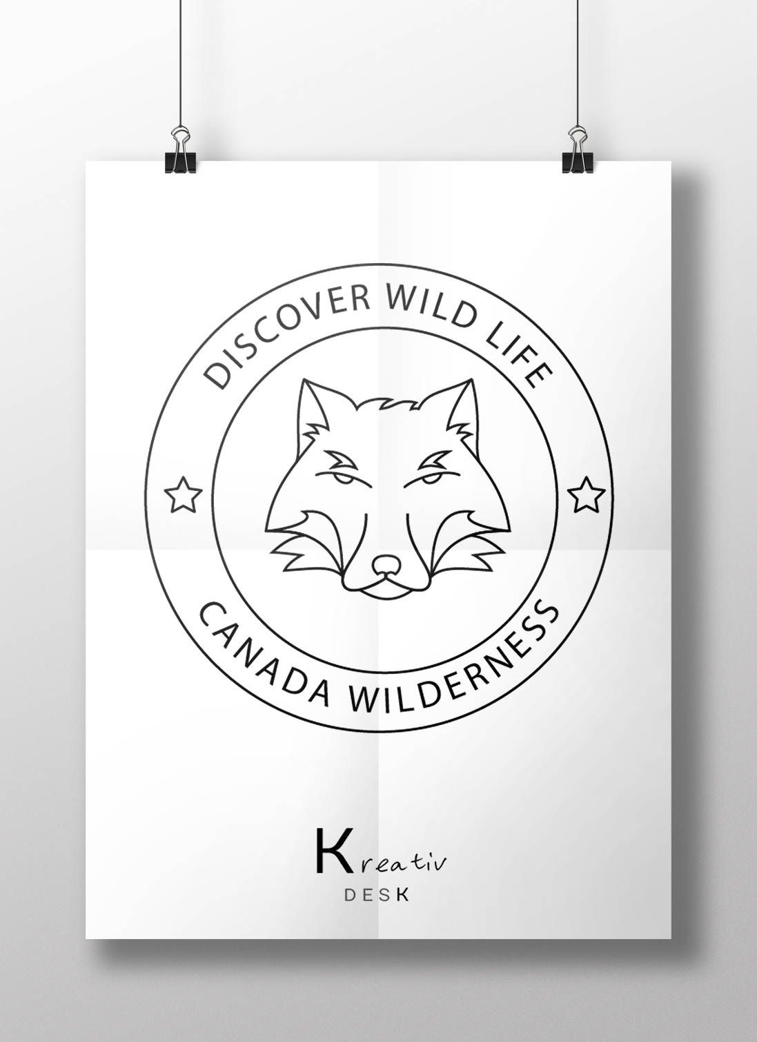 Adventure Logo Stamp Handmade Design Round Star Wolf Badge Retro By KreativDesk On Etsy