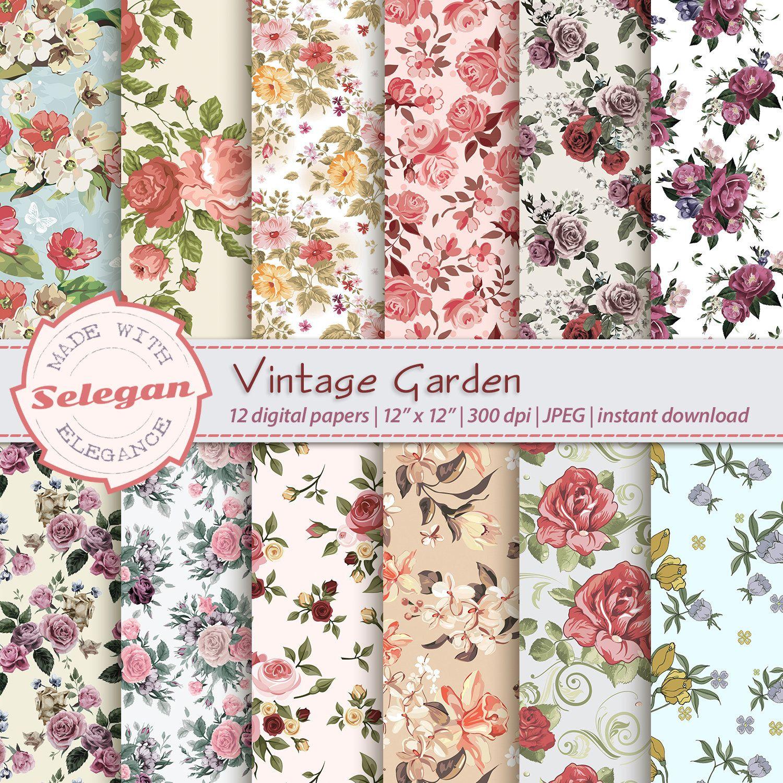 Vintage pattern FREE COMMERCIAL USE Garden Flowers Prints Vintage Floral Digital Package Scrapbooking Digital Package Garden Flowers