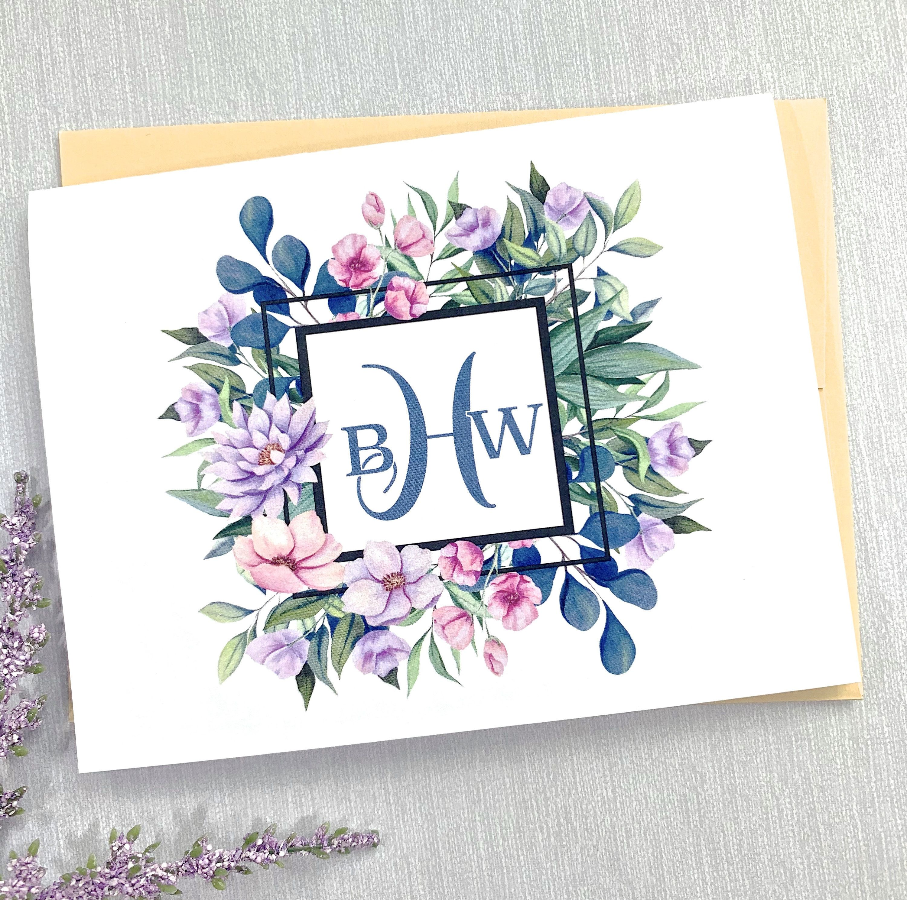 Monogrammed cards womens thank you notes women