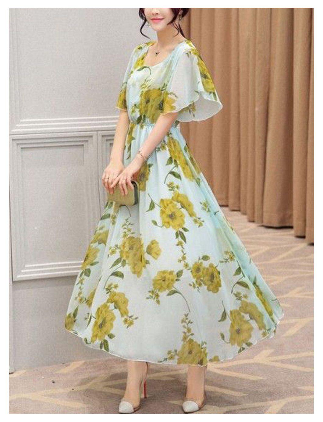 Summer Chiffon Floral Print Maxi Dress Women S Fashion Maxidress Floral Women Dresses Floralc Floral Chiffon Maxi Dress Maxi Dress Maxi Dress With Sleeves [ 1385 x 1060 Pixel ]