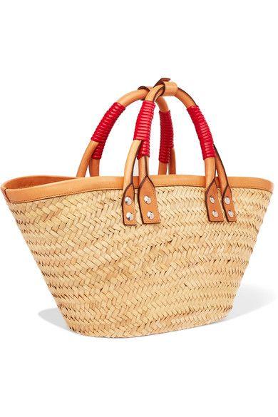 al por mayor en línea gran inventario belleza Balenciaga Bistrot Panier leather-trimmed woven raffia tote ...