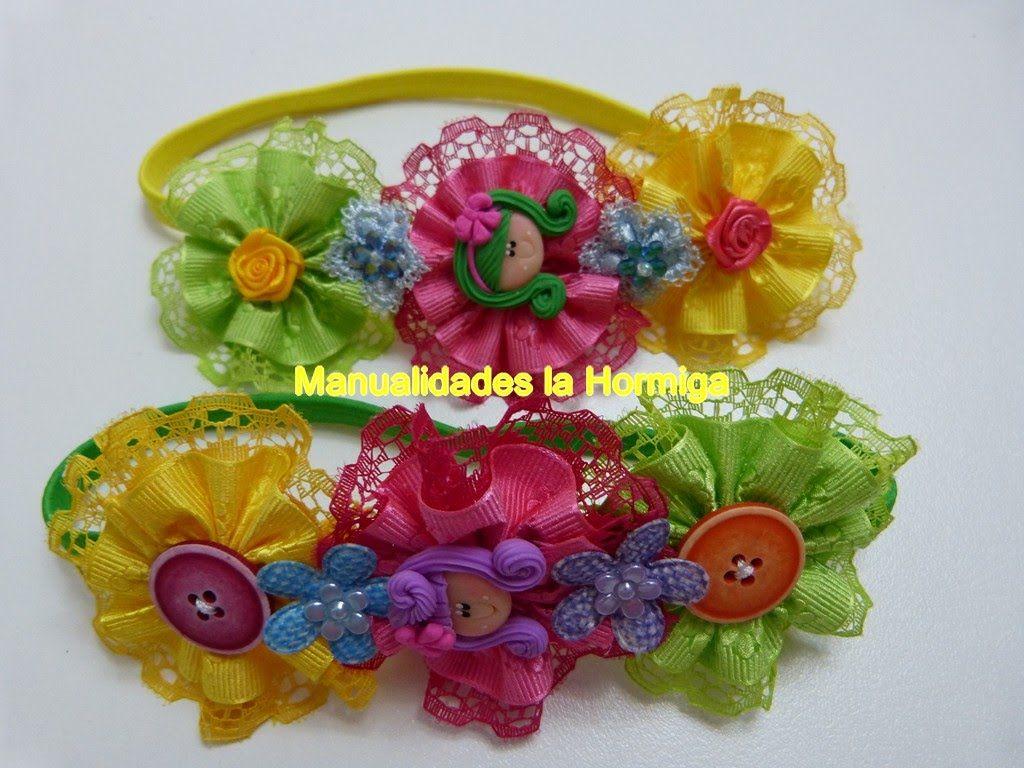 rosetones en cinta gros  y encaje para decorar balacas para el cabello. ...