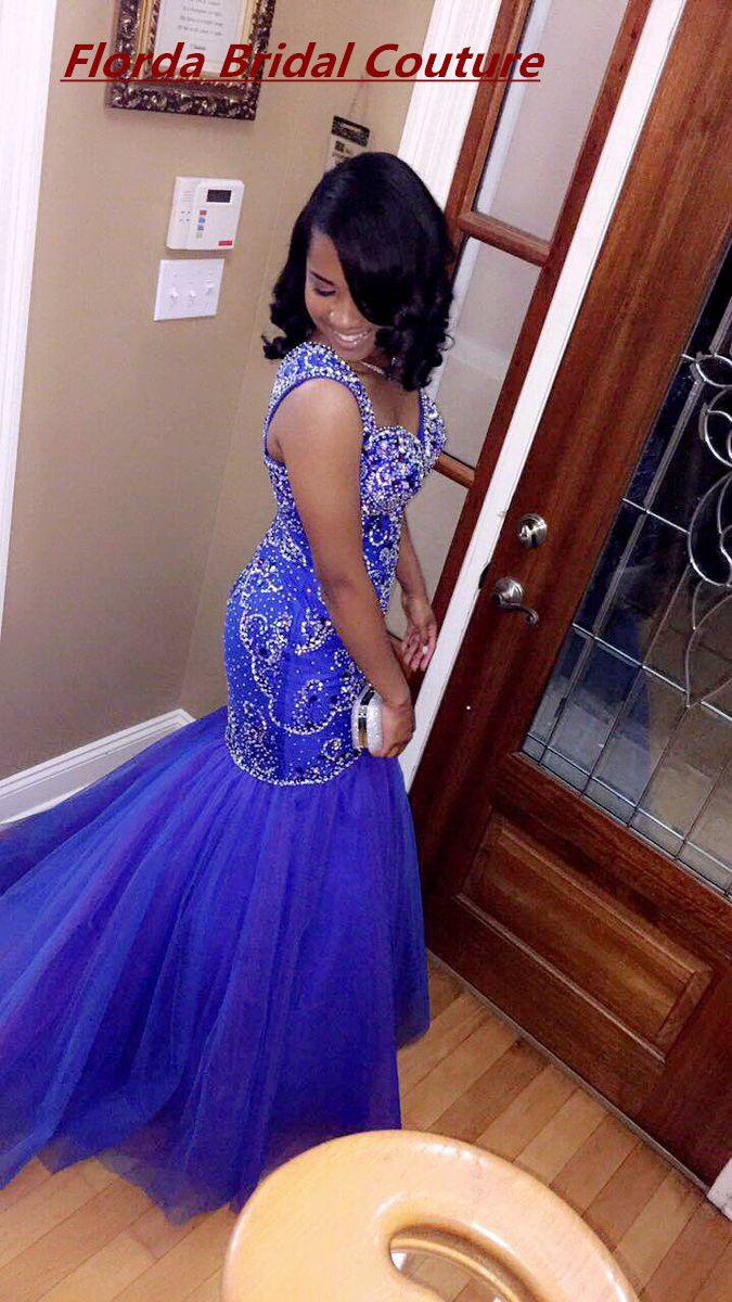 Click to buy ucuc royal blue mermaid african black girl prom