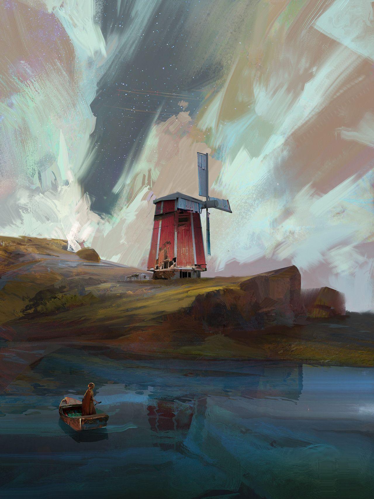 Windmill By Ramazan Kazaliev Art Environmental Art Concept Art