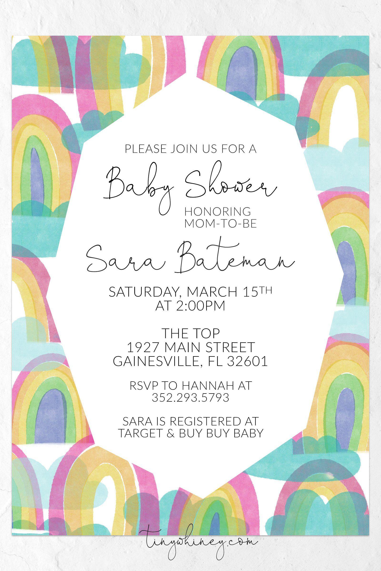 Rainbow Baby Shower Invitation Printable Invitations Celebrating A New Baby Rainbow Baby Shower Invitations Rainbow Baby Shower Baby Shower Invitations
