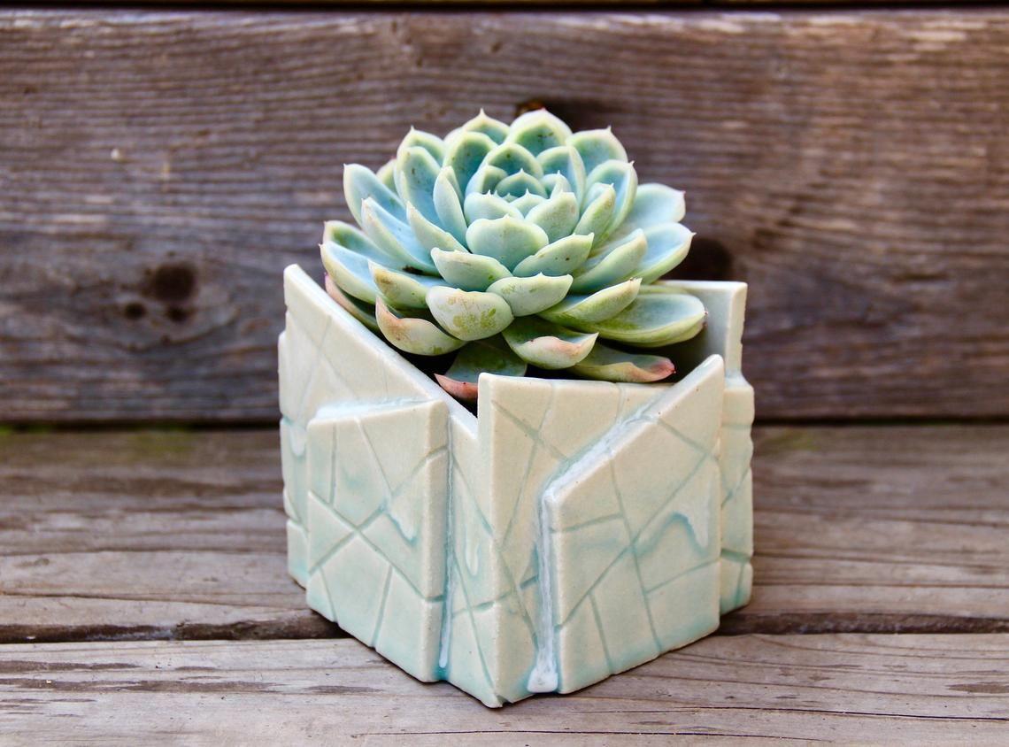 Abstract Ceramic Pot Clay Sculpture Glazed Decorative Pot Etsy Clay Planters Flower Pot Art Decorative Pots