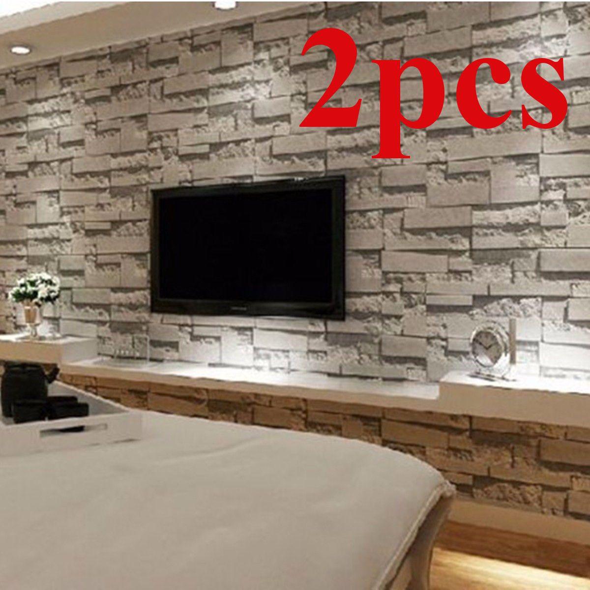 Best 2X Brick Effect Wallpaper Bedroom Mural Roll Modern Luxury Stone Wall Background 400 x 300