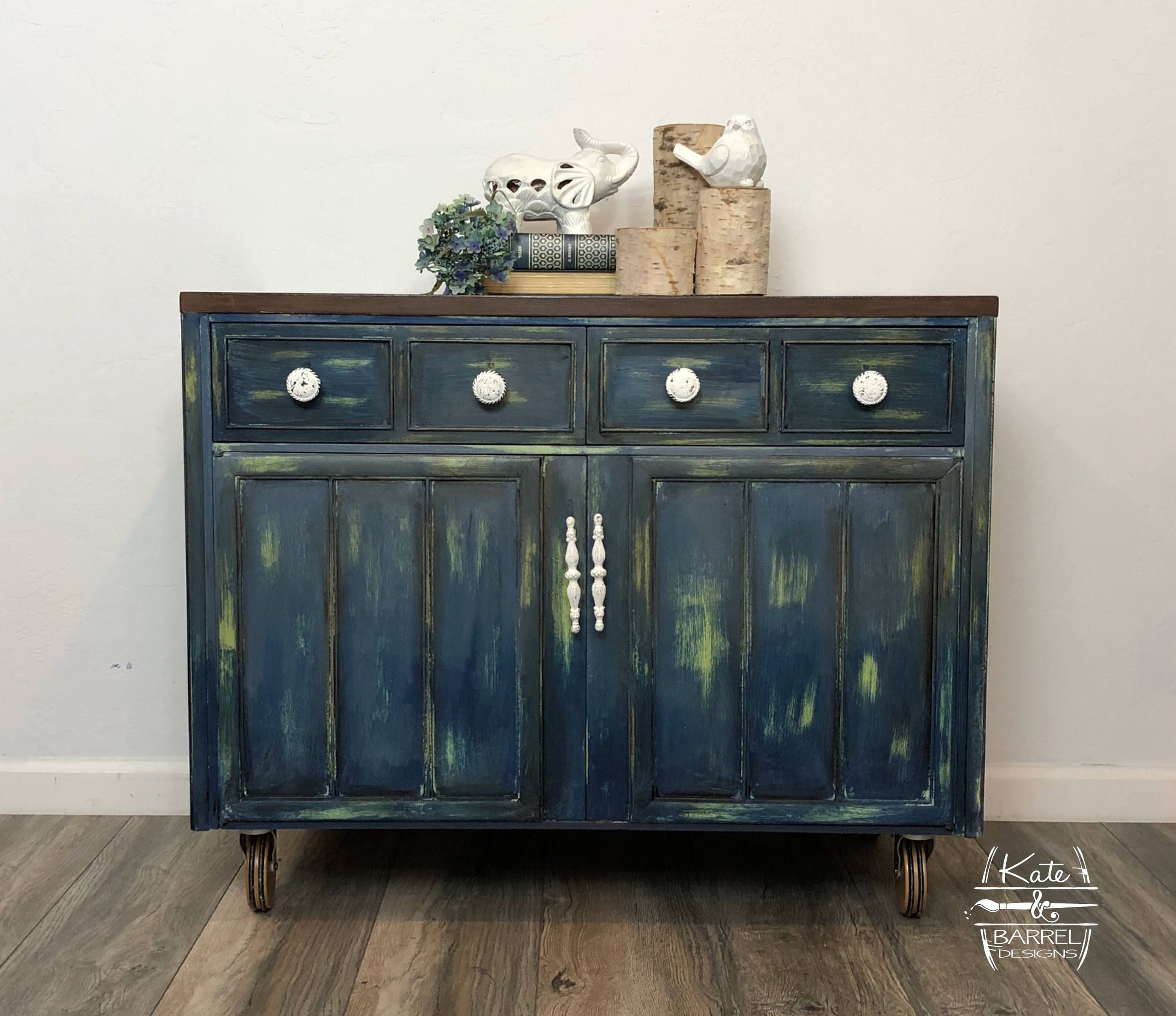 Vintage Roller Cart Breakfast Buffet Entry Table Sideboard Or