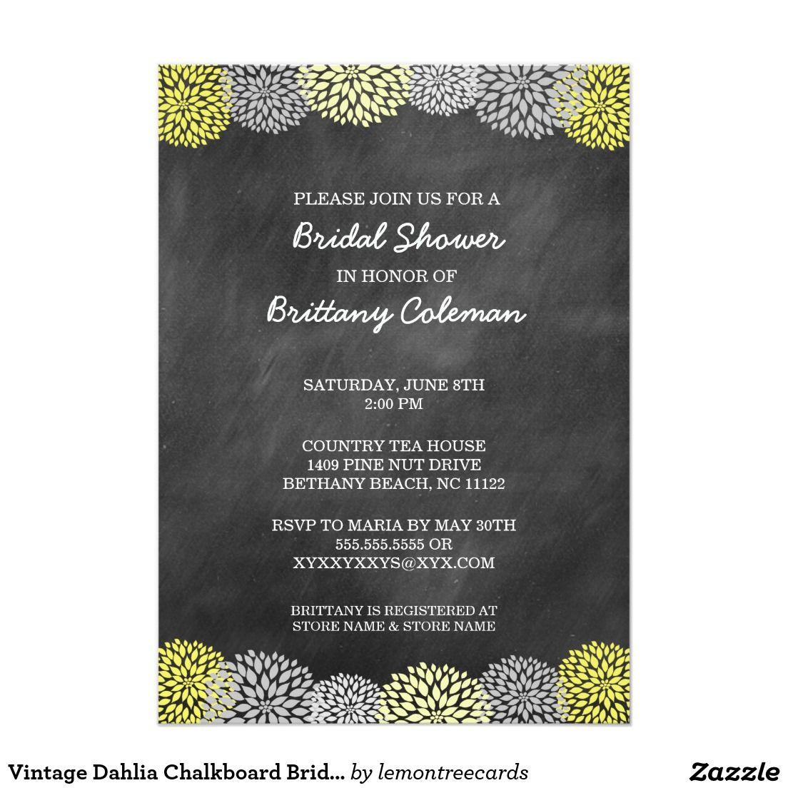 Vintage dahlia chalkboard bridal shower invites classy nice and vintage dahlia chalkboard bridal shower invites filmwisefo