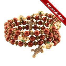 Swarovski Maroon Rosary Bracelet #rosaryjewelry