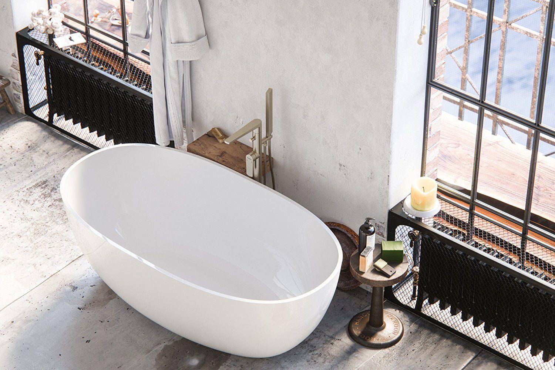 MAYKKE Barnet 61 Inches Modern Oval Light Acrylic Bathtub Easy To Install  Freestanding White Soaker Tubs For Bathroom CUPC Certified, XDA1407001      Amazon. ...