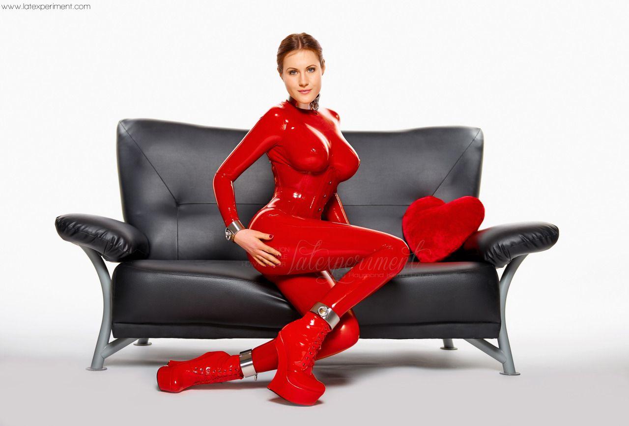 red latex suit