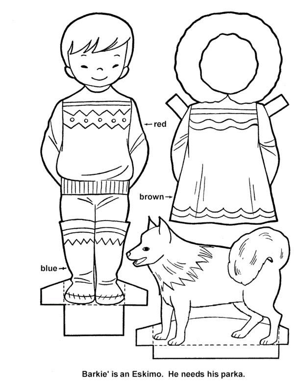 Eskimo Paper Dolls Paper Dolls Paper Doll Template Coloring Pages