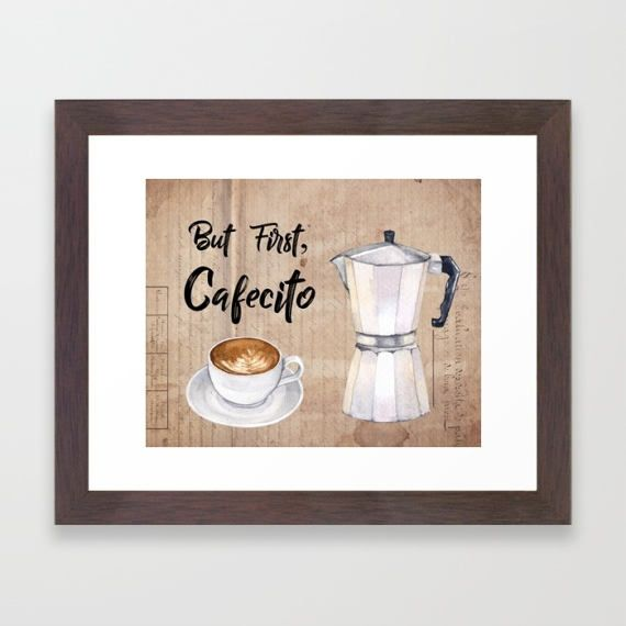Flag Of Puerto Rico Sticking In Coffee Art Print Home Decor Wall Art Poster C